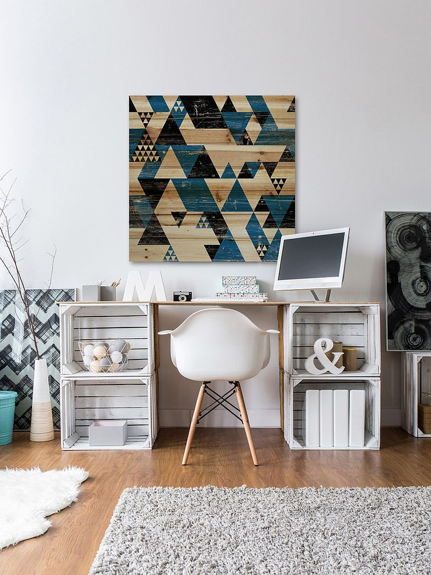 Transitional home office with a creative workdesk
