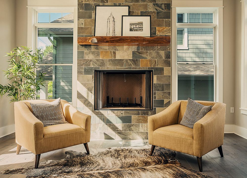 Transitional living room with a cool live-edge fireplace mantle