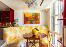 Tropical breakfast nook with colorful seating