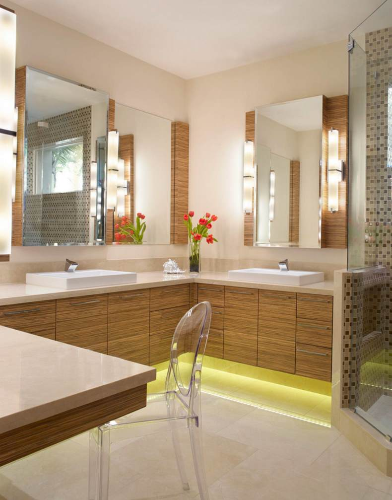View in gallery Under-cabinet lighting for a bathroom corner & 20 Modern Corner Lighting Ideas