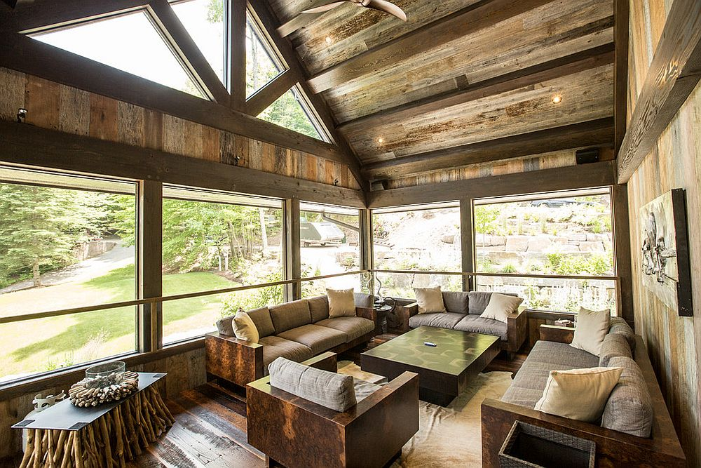 Unique coffee tables crafted from twigs steals the show in this rustic sunroom [Design: Gilbert + Burke]