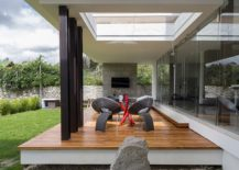 Unique design of the home and pergola takes the living experience outdoors