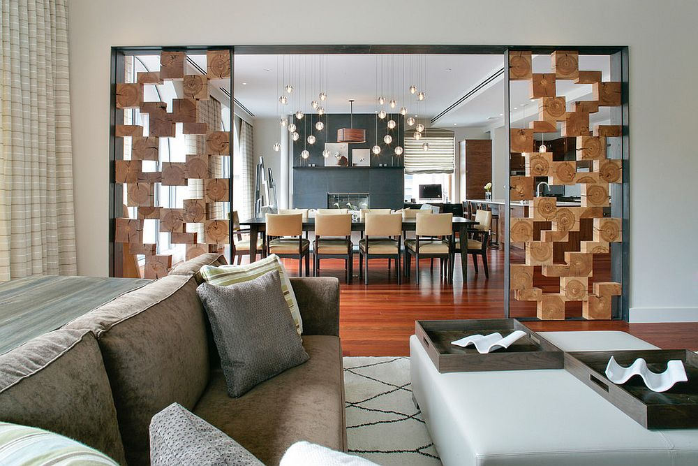 Unique room divider using wooden boxes separates the living and dining spaces [Design: Betty Wasserman]