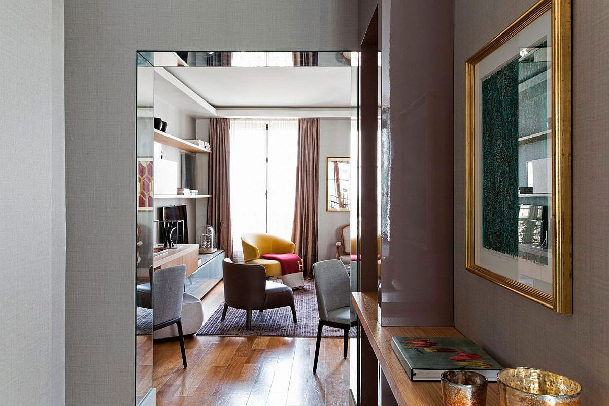 View of the living room filled with colorful decor and Parisian charm