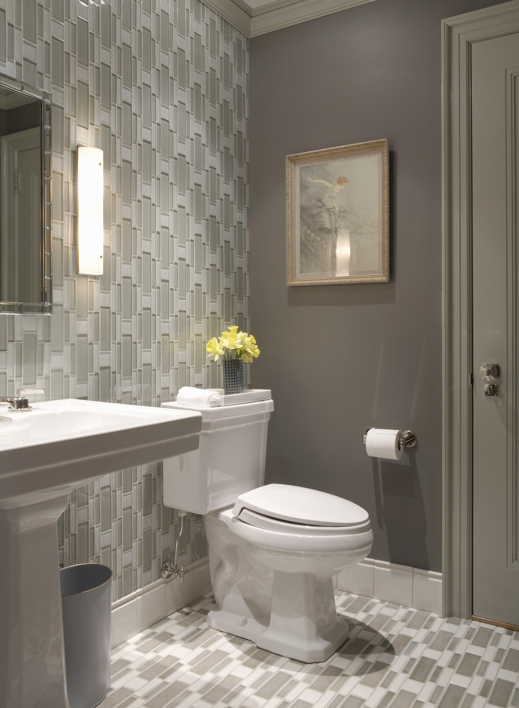 How to decorate with the color taupe for Gray bathroom wallpaper