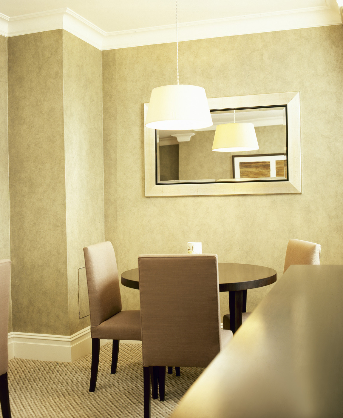 Warm taupe dining room