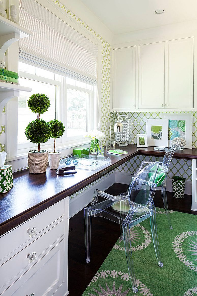 White home office filled with green accents [Design: Martha O'Hara Interiors / Troy Thies Photography]
