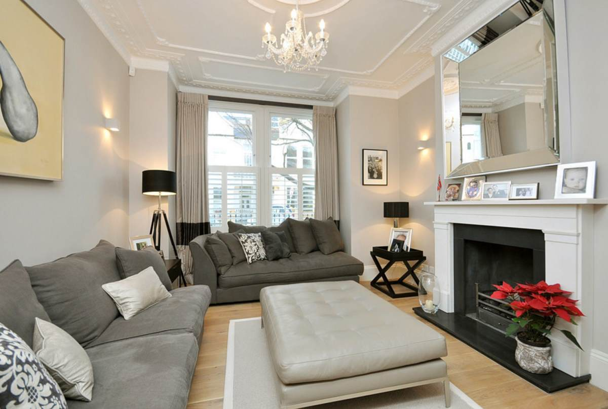 White moulding in a taupe living room