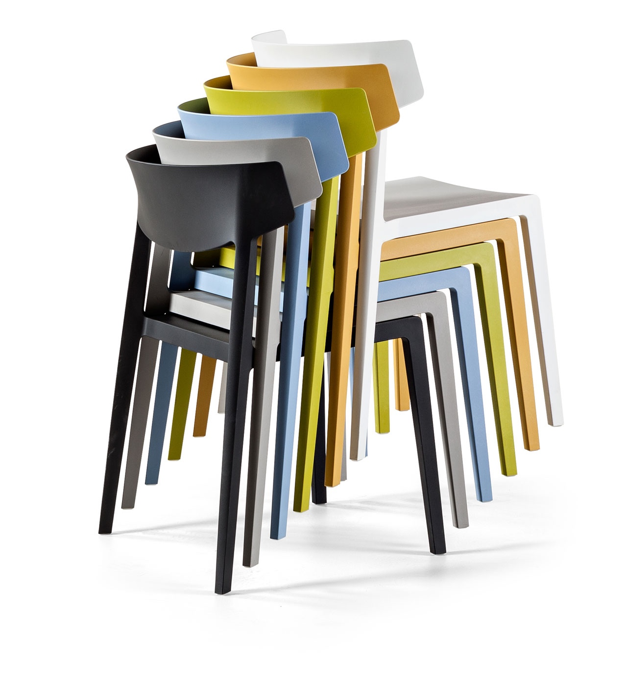 The stackable Wing chair was designed by Ramos & Bassols.