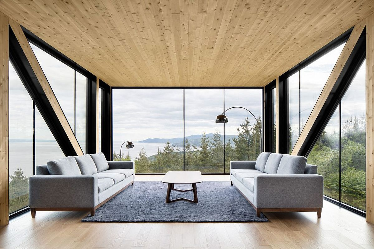 Wood glass and steel shape the stunning interior of Blanche Chalet