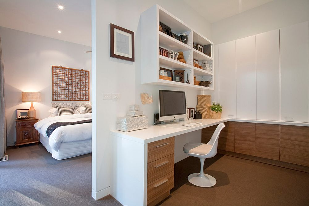 ... Wooden Cabinets Bring Warmth To The Home Office In White Next To The  Master Bedroom [
