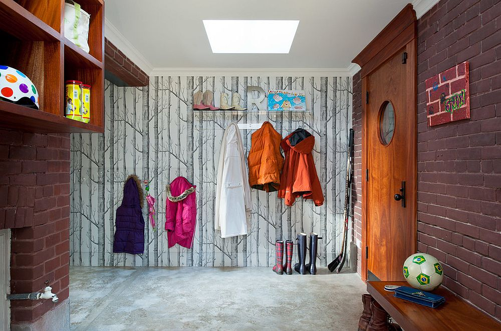 Woods Wallpaper for the eclectic entry and mudroom with skylight 25 Gorgeous Entryways Clad in Wallpaper