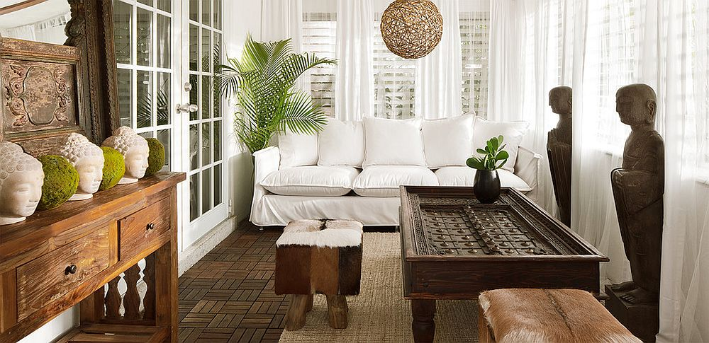 Zen-styled tropical sunroom with oriental inspiration