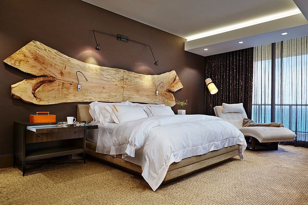 A stunning addition to the headboard wall - raw slab of wood! [Design: Diane Paparo Associates]