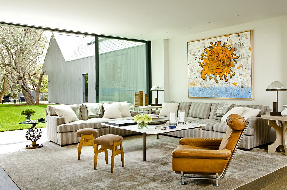 A touch of color enlivens the beautiful family room connected with the garden