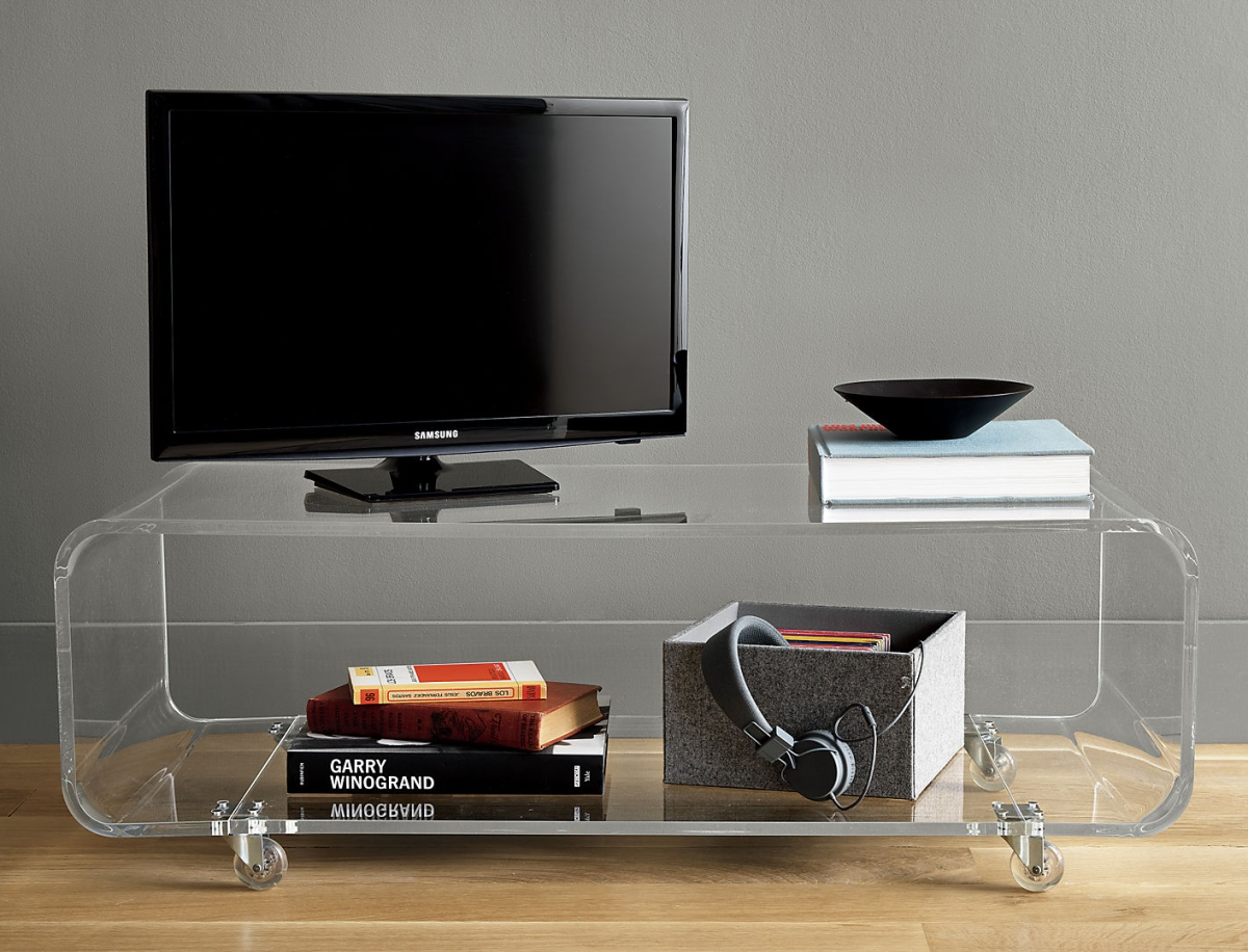 Acrylic media console from CB2