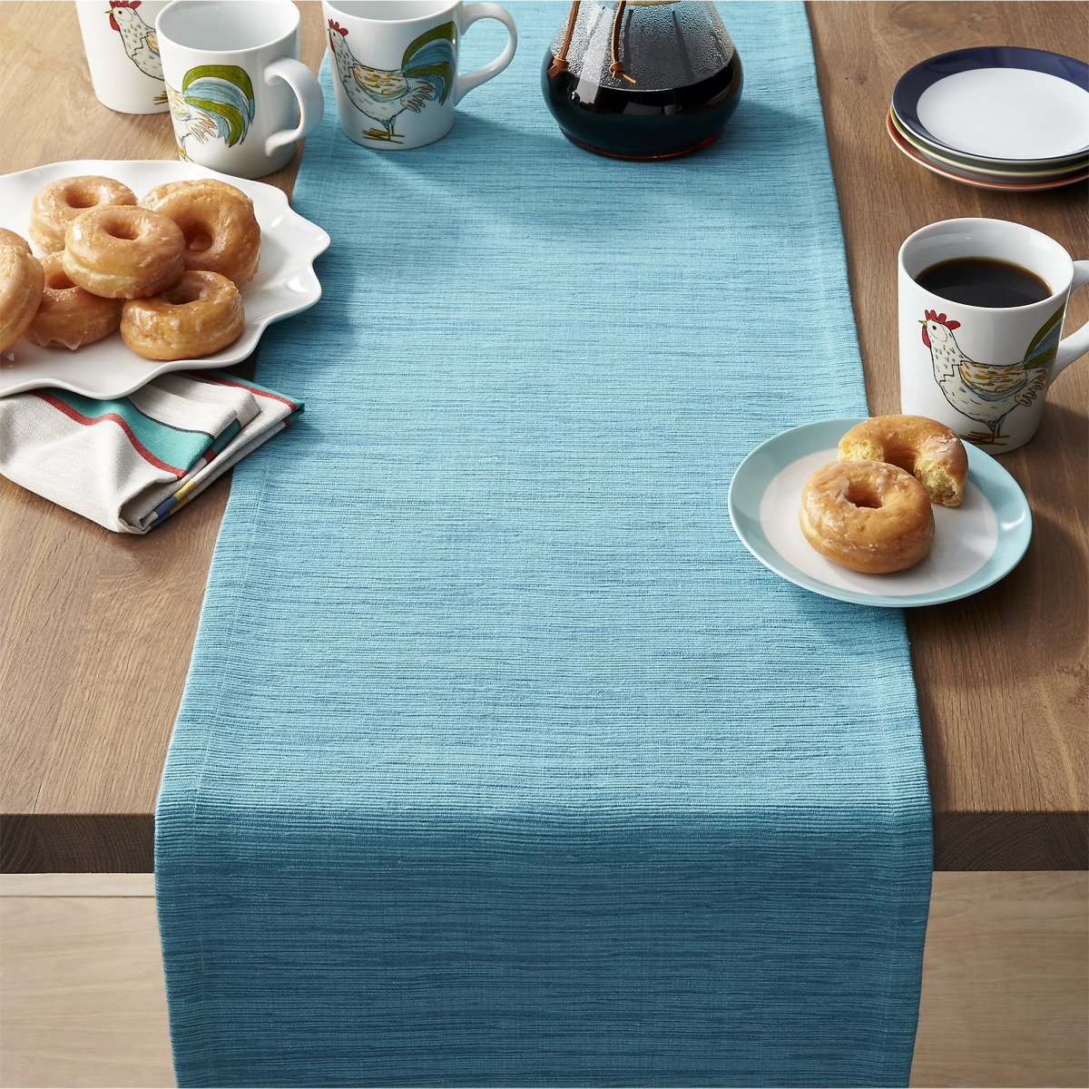 Aqua table runner from Crate & Barrel
