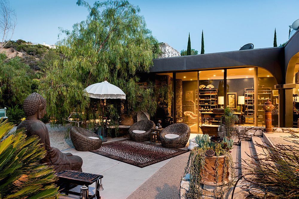 Asian patio and garden coupled with a smart contemporary home [Design: Second Chances Design]