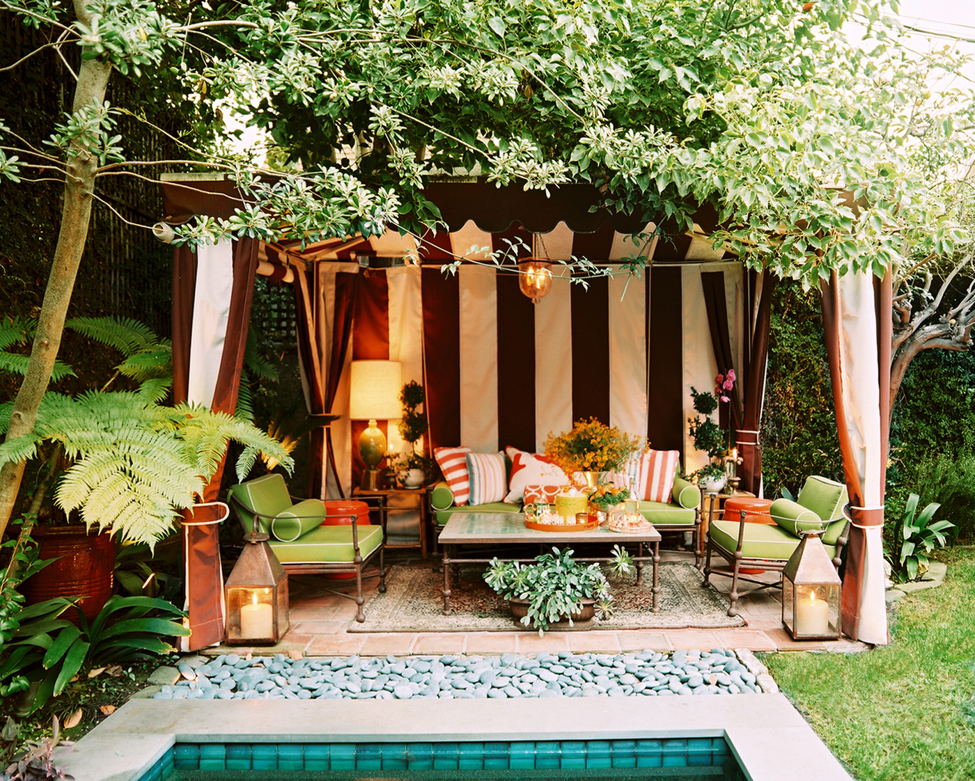 Back patio with a garden tent (photo via Lonny)