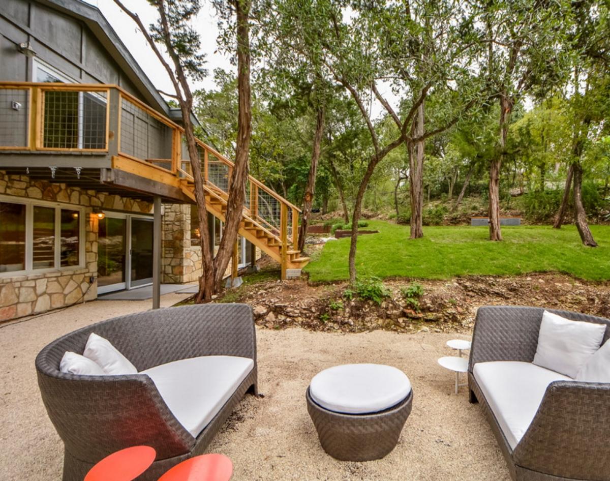 Backyard graveled patio from Capstone Custom Homes