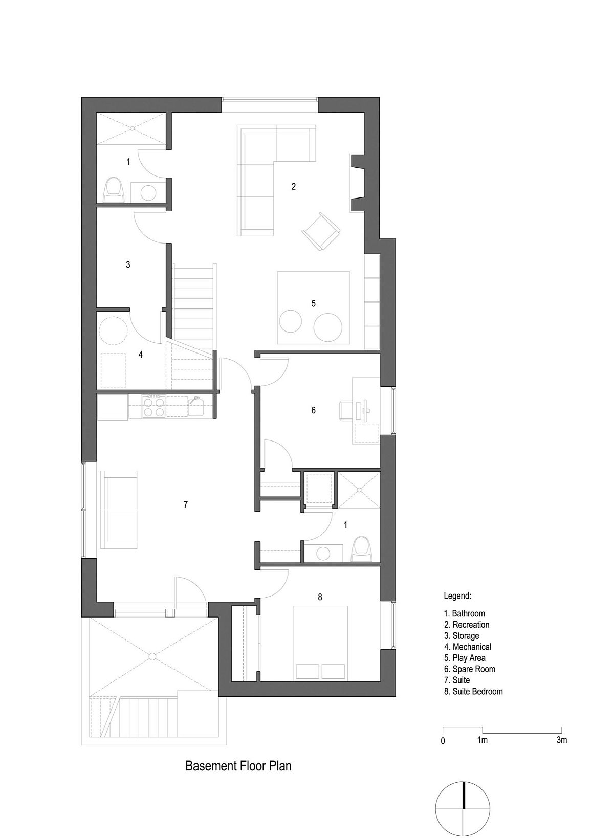 Basement floor plan of the Pink House