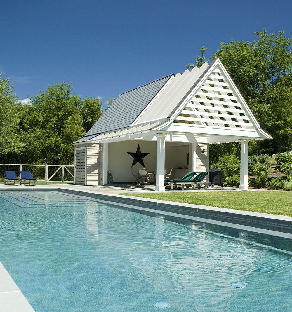 beach style and contemporary charm rolled into one inside the pool house design hp - Pool House Designs Ideas