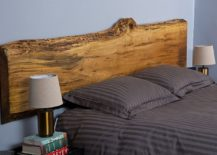 Beautiful live-edge maple headboard for contemporary bedroom in blue and gray