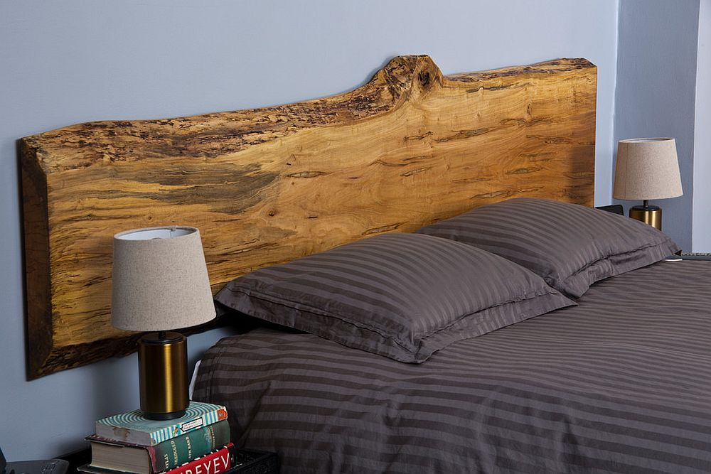 Beautiful live-edge maple headboard for contemporary bedroom in blue and gray [Design: RE-CO BKLYN]