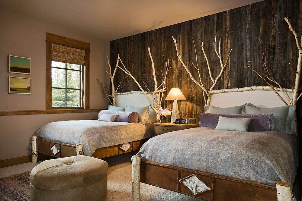 Birch wood and reclaimed wood wall are perfect for the comfy rustic bedroom [Design: Locati Architects / Roger Wade Studio]