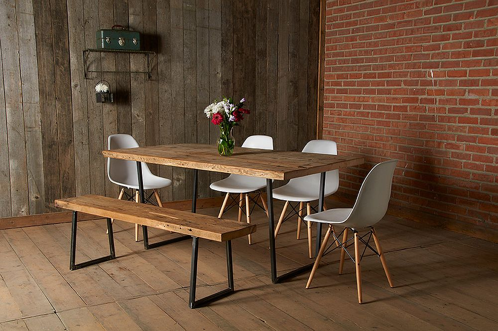 Brick and reclaimed wood brought together in the modern dining room [Design: urban wood goods]