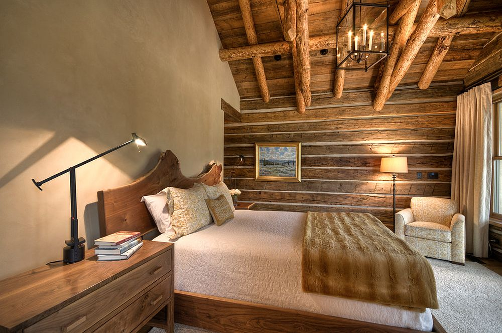 Cabin style bedroom with woodsy charm [Design: Laura Fedro Interiors]