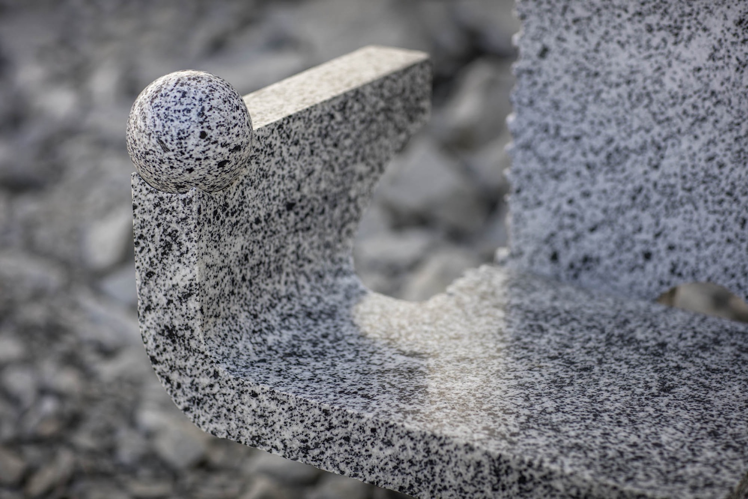 Campione chair granite detail.