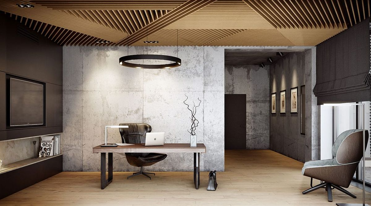 Ceiling in wood draws inspiration from the dining room wall