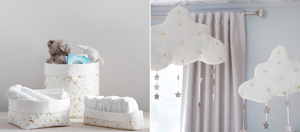 Celestial storage and mobiles from Pottery Barn Kids
