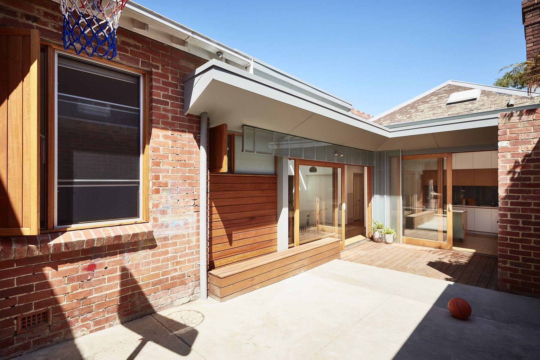 Central courtyard of the revamped Melbourne home with contemporary addition