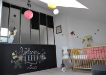 Chalkboard wall and skylight for the cool nursery with industrial style