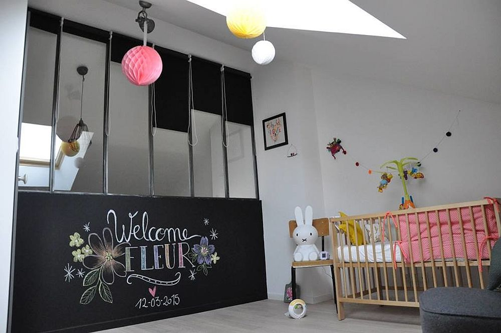 Chalkboard wall and skylight for the cool nursery with industrial style [Design: Matières Grises]