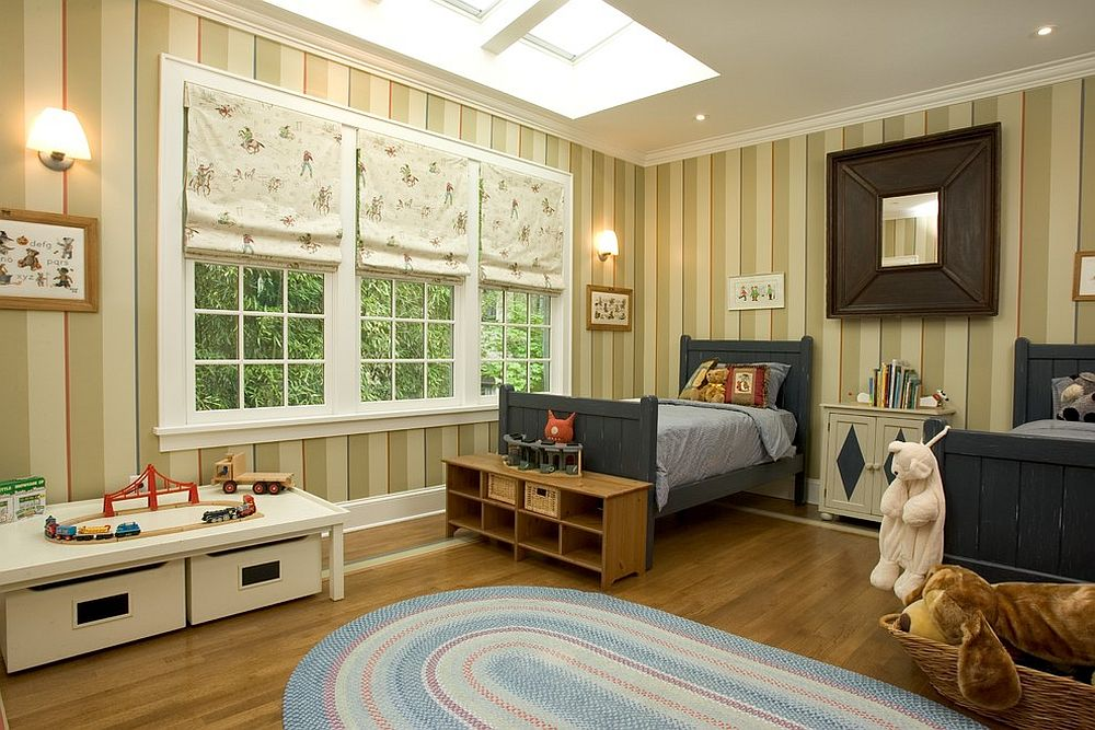 Classic boys bedroom with striped walls and skylight [Design: Dennison and Dampier Interior Design]