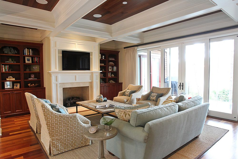 Coffered ceiling gives the beach style home theater a unique look [Design: Margaret Donaldson Interiors]