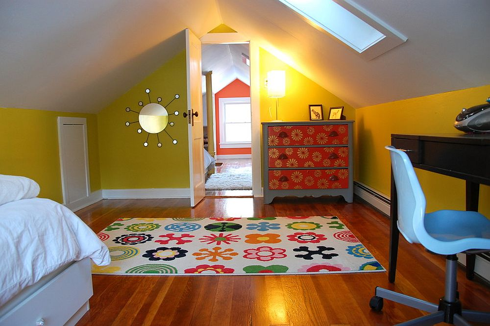 Colorful kids' attic bedroom in yellow