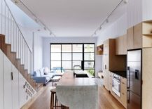 Cool kitchen island stands out from the usual 217x155 An Interactive Setting: Renovated Modern Terrace House in Melbourne