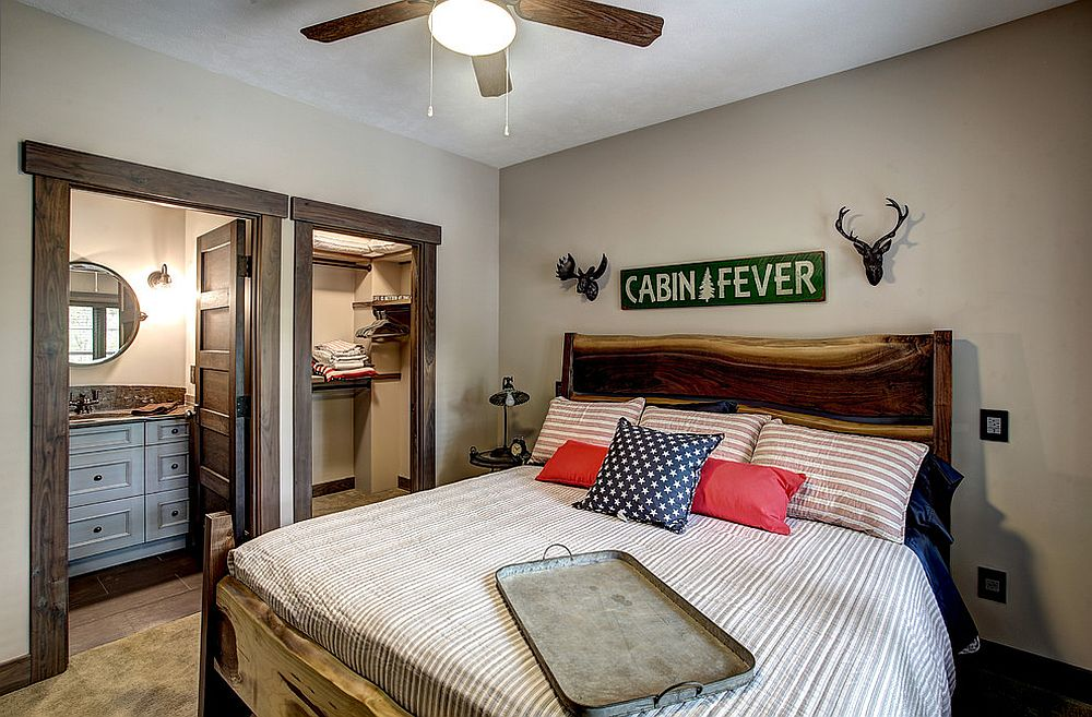 Craftsman style bedroom with live edge frame bed [Design: Marty Rhein]