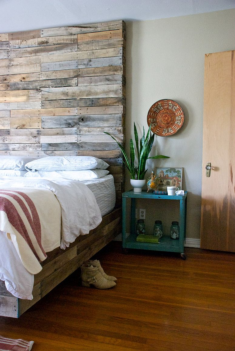 Reclaimed Wood Bedroom Furniture Ideas ... Creative way to add reclaimed wood to the contemporary bedroom [From:  Hilary Walker]