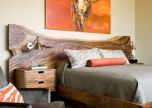 Custom bed with live-edge headboard for the rustic bedroom