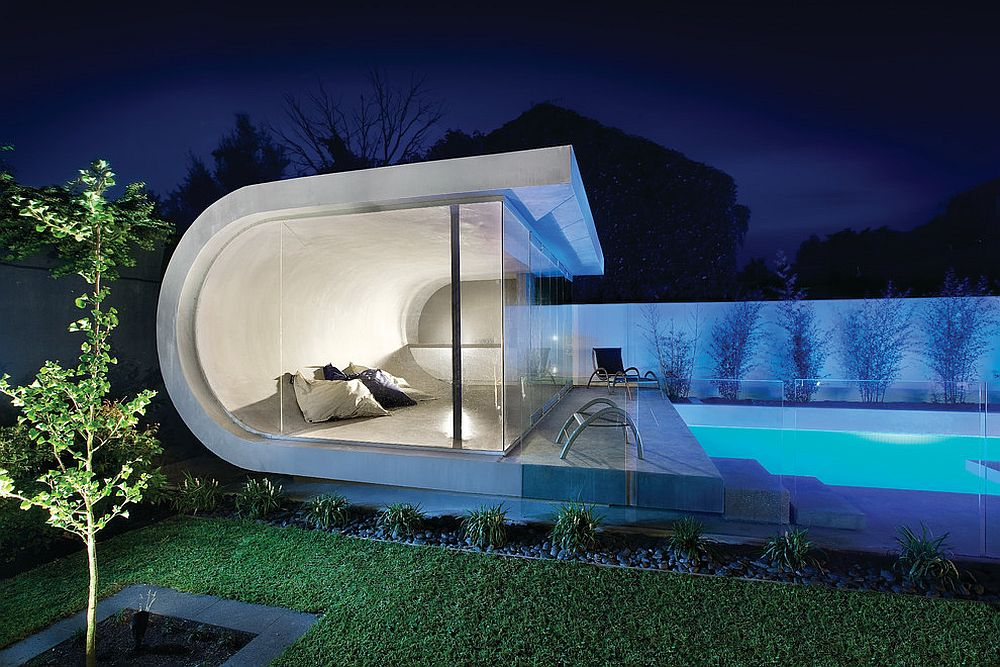 View in gallery Custom contemporary pool house inspired by waves! [Design:  Canny Design]