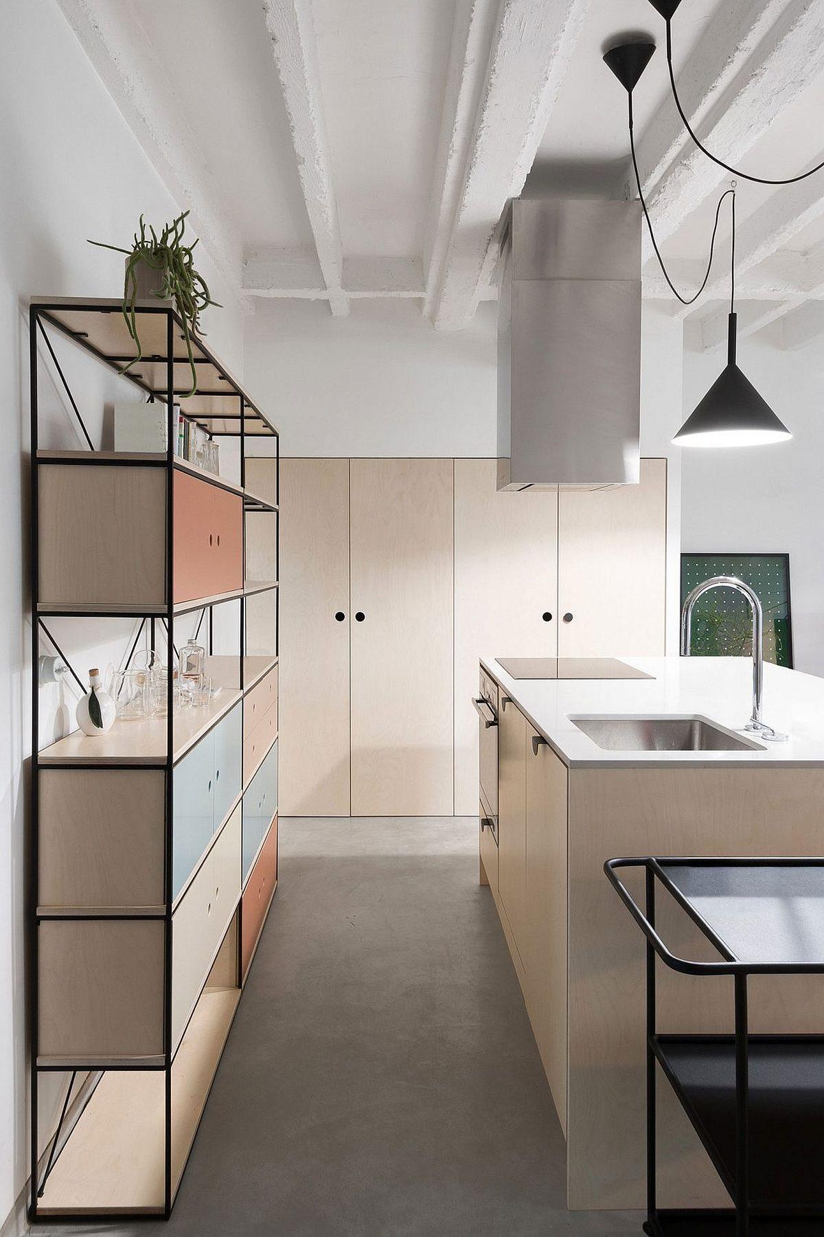 Custom kitchen shelf with modern industrial flair