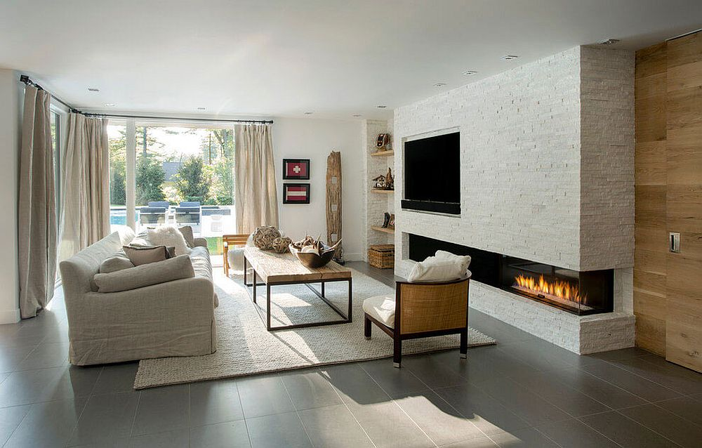 Custom stone fireplace with contemporary dazzle