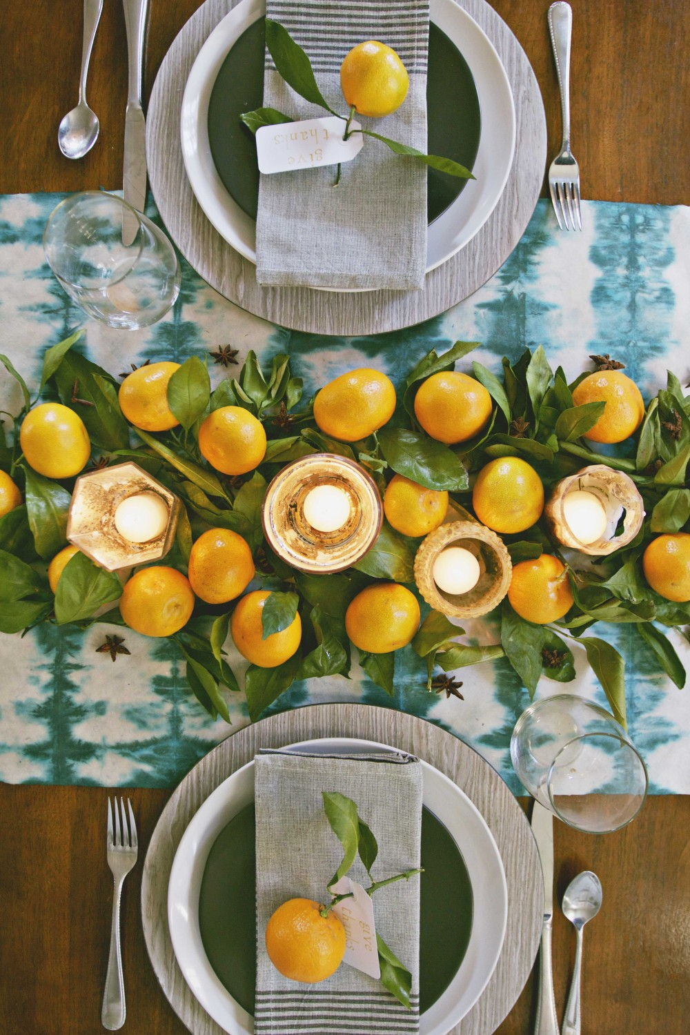DIY shibori table runner from Annabode