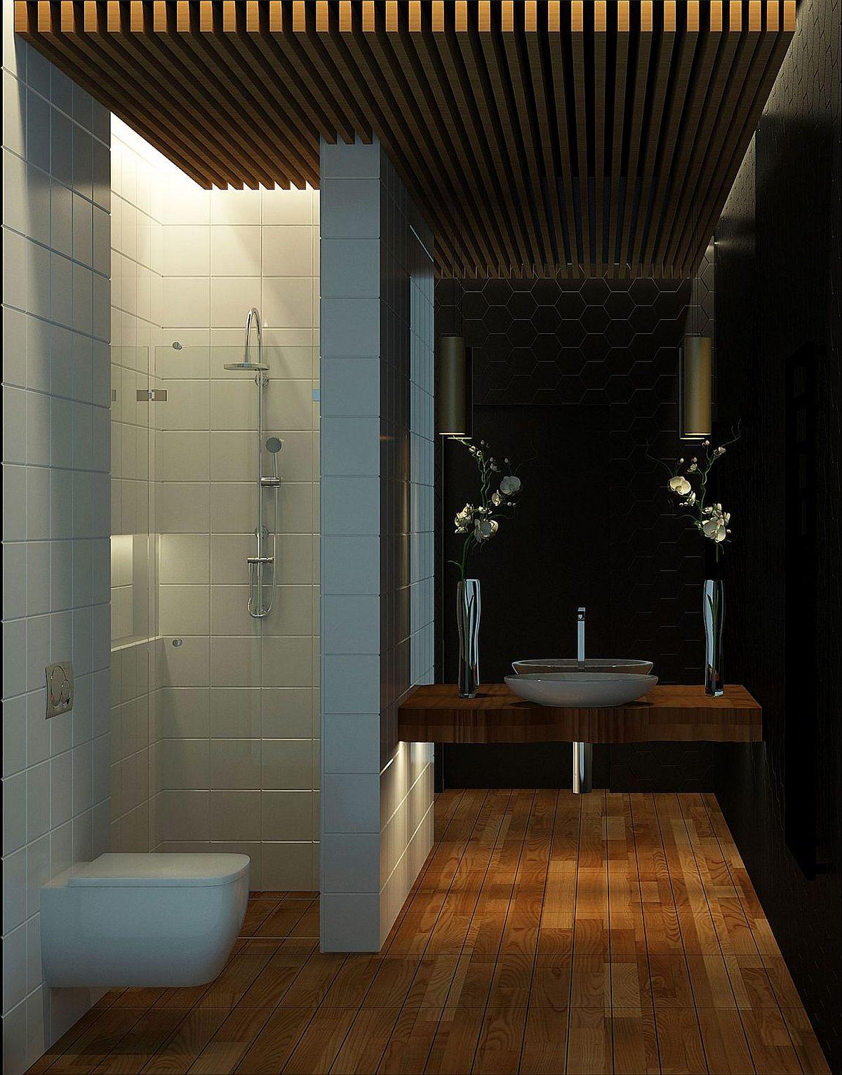 Dark hexagonal tiles bring geo style to the bathroom