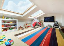 Decor and toys bring color to the kids' playroom with large skylight